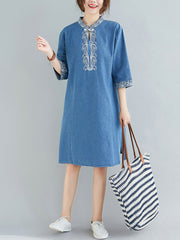 Ennics Embroidered Cotton Tunic Top