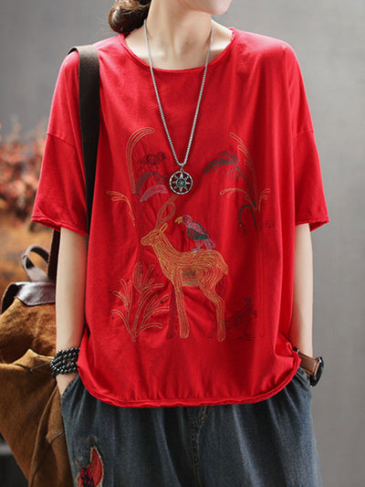 Equipment Deer Print Cotton T-Shirt