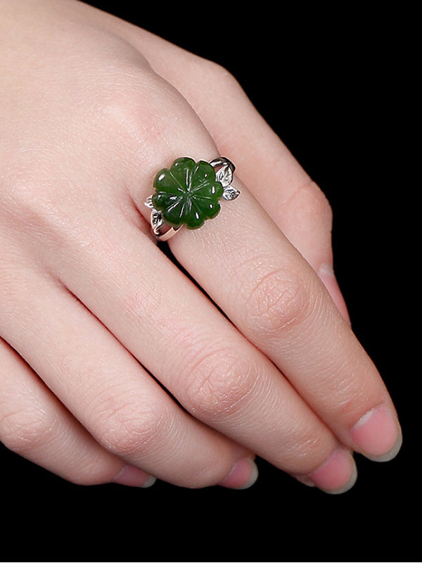 Tanya Vintage Clover Silver Jade Open Ring