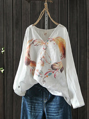 Ashlee Vintage V-neck Matching Leather Print Linen T-shirt