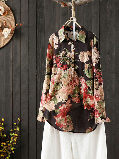 Carmela Vintage Contrasting Red Peony Print Lapel Tops