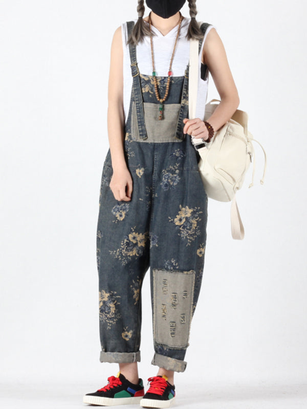 Jimena Vintage Ripped Overalls with Flower Patchwork