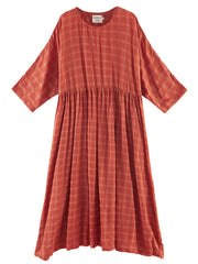 Dreaming Textured Lattice Print Cotton Smock Dress