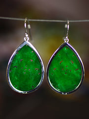 Carla Classical Silver Jade Earrings with Hollows