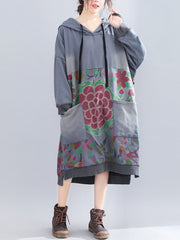 Vickie V-Neck Hooded Ethnic Quilted Sweatshirt Floral Prints Shift Dress