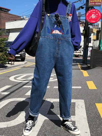 Marcia Denim Overall Dungarees with Alphabetic Donkey Embroidery