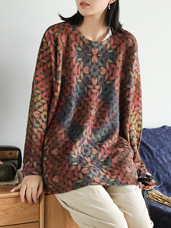 Metallic Printed Pullover Sweater