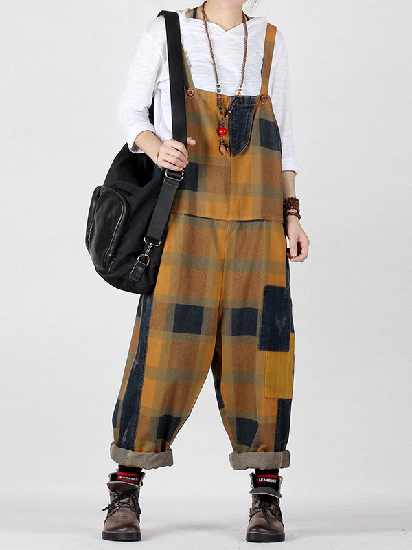 Fine Blocks Hippie Lattice Splicing Overalls Dungarees