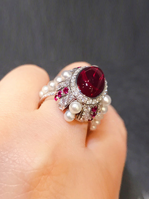 Blanche Pigeon Blood Ring with Pearl Edge
