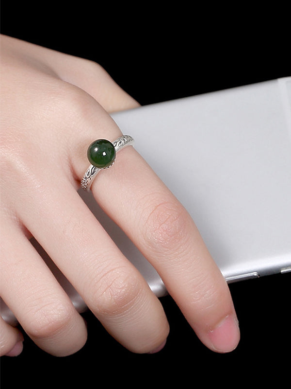 Jackie Silver Jade Bead Ring with Pattern Carving