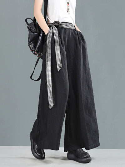 Nannie Vintage Baggy Linen Wide Leg Pants with Contrasting Plaid Belt