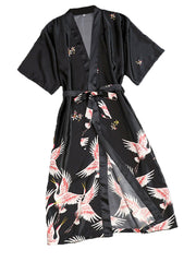 The Crazy Feelings Crane Gown Kimono Robe