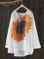 Noreen Vintage V-neck Contrasting Sunflower Printed Linen T-shirt