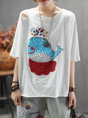 Blue Whale Cotton T-Shirt