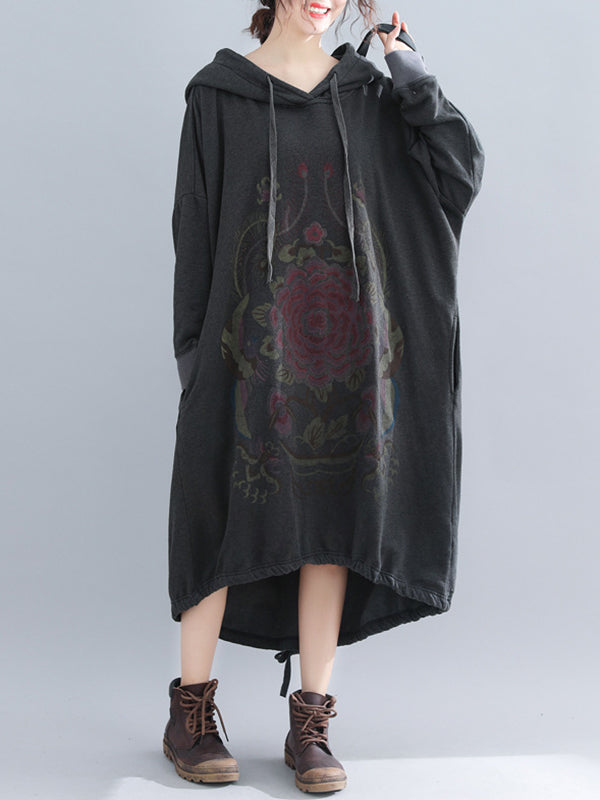 Caroline V-Neck Hooded Drawstring Asym Quilted Sweatshirt Dress with Floral Prints