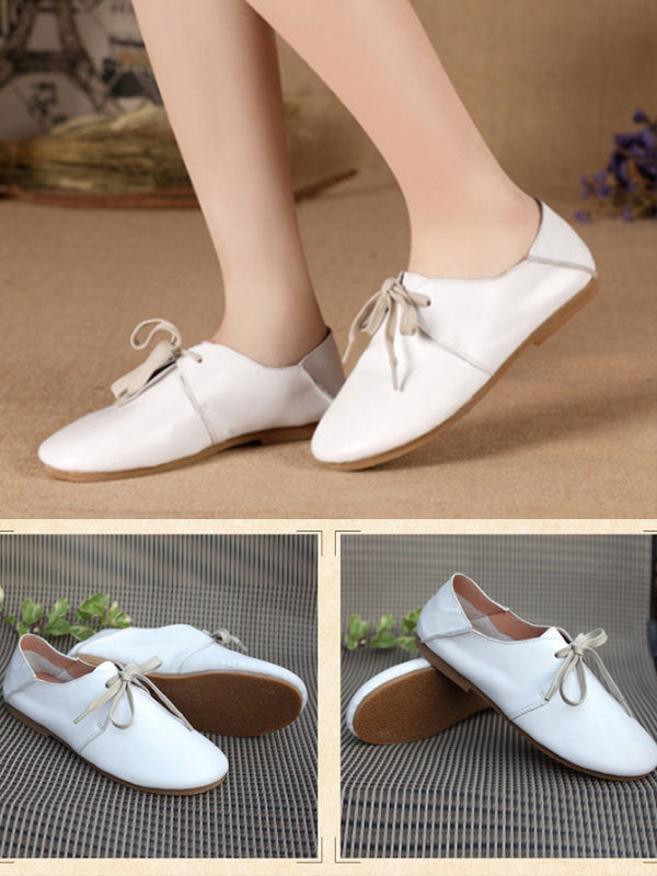 Fringe Flat Vintage Leather Shoes