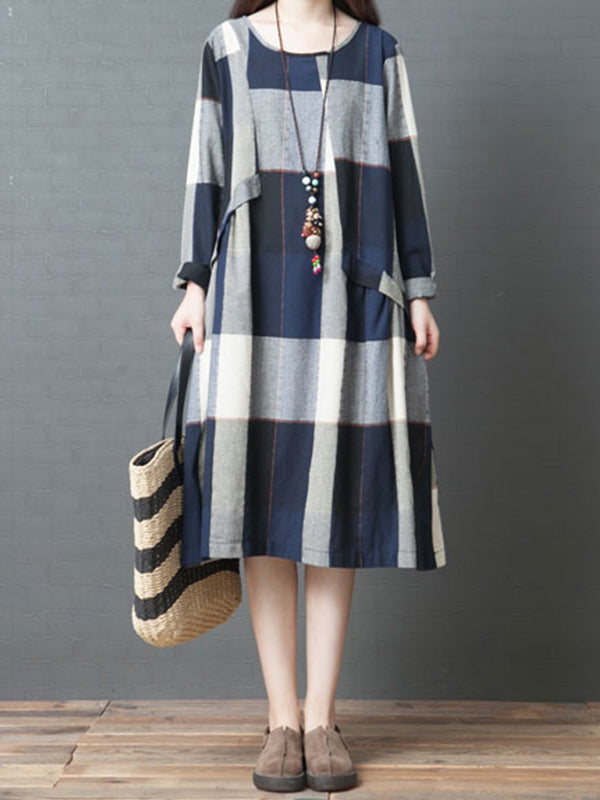 Monica Round Neck Cotton Smock Dress with Plaids Prints