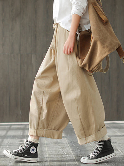 Odessa Vintage Loose Belted Ruffle Cotton Wide Leg Pants with Turnover Hems