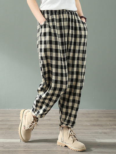 Dinkies Girl Tartan Cotton & Linen Pants