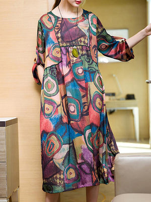 Abstract Art Panel Style Shift Dres