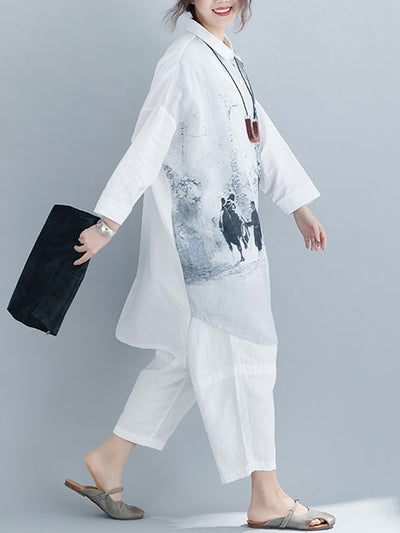 Acacia Landscape Painting Shirt Dress