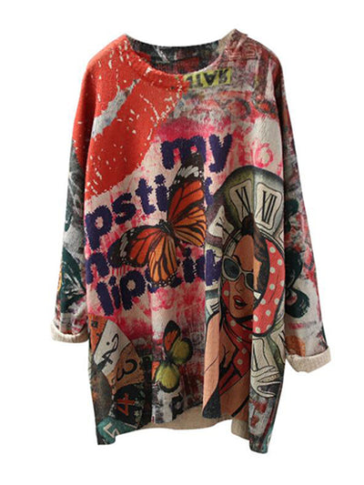 Ina Contrasting Letter Printing Knit Sweater Top