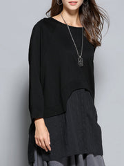 Nina Round Neck Curver Split Knit Top with Long Sleeves