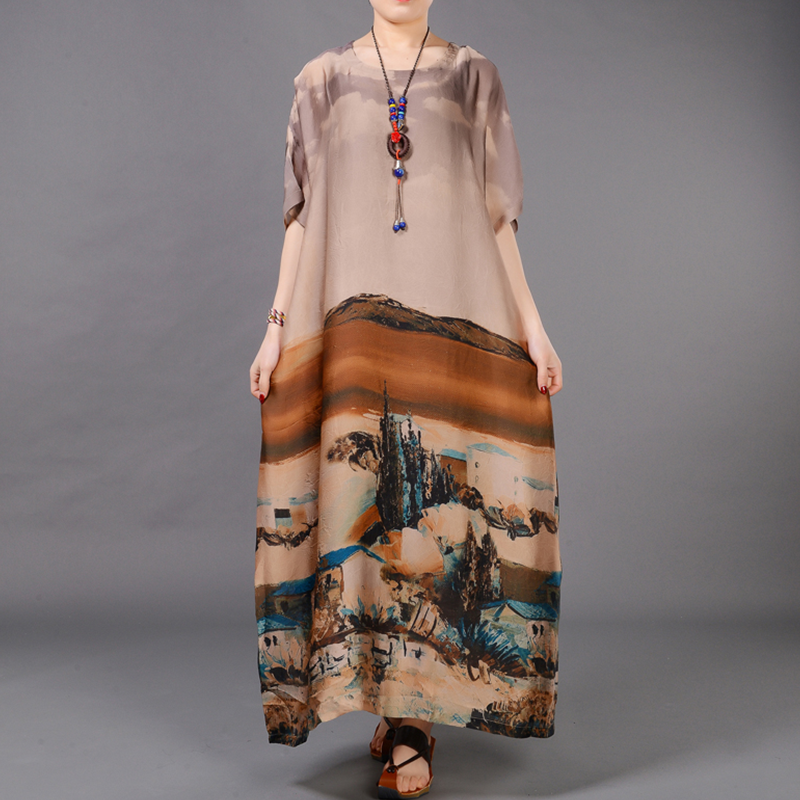 Digital Scenic Print Silk Dress