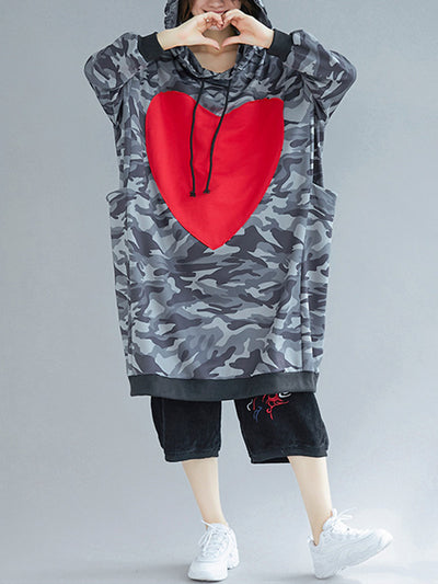 Heart Camouflage Sweatshirt Hooded Dress