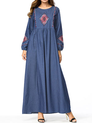 Traditional Patched Maxi Dress