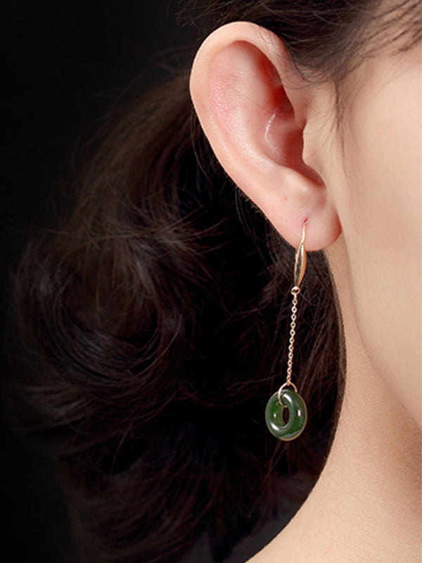 Gina 18K Gold Jade Ear Pendants with Peace Buckles