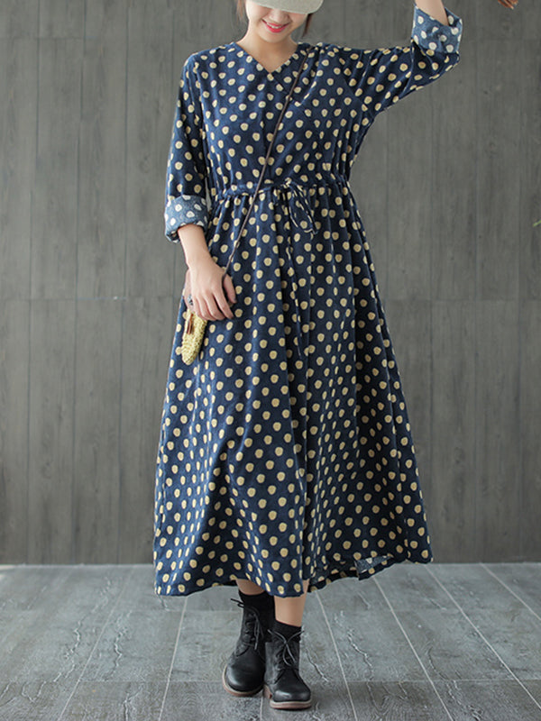 Mattie V Neck Corduroy Ethnic Midi Dress with Polka Dots