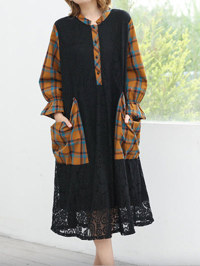Viola Contrast Color Plaids Stripes Lace Shirt Dress with Lantern Sleeves