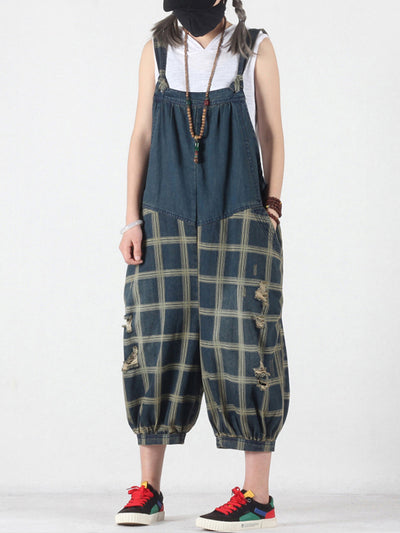 Katie Plaids Cropped Overall Bloomers