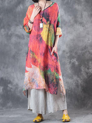 Autumn Print Loose Long Linen Dress
