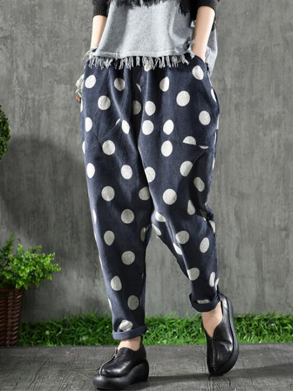 Candice Contrast Dotted Corduroy Trousers
