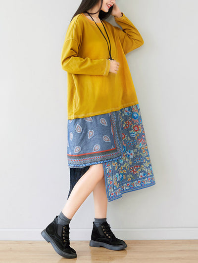 Splicing High and Low Hem Sweatshirt Dress