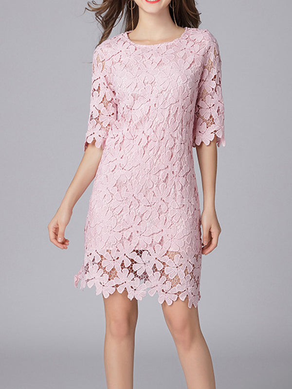 Linking Floral Lace Dress