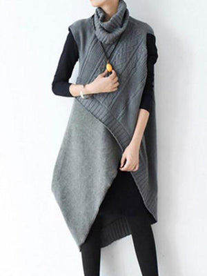 Turtle-neck Irregular Long Knitted Wool Top