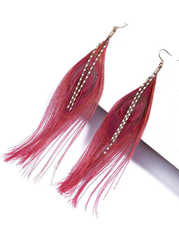 Celestial Peacock Feather Pink Earring