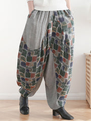 Splicing Square Printing Linen Harem Pants