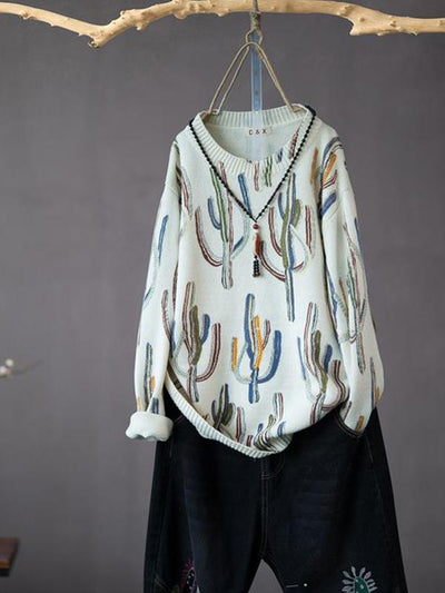 Odessa Round Neck Cotton Sweater Top with Cactus Prints