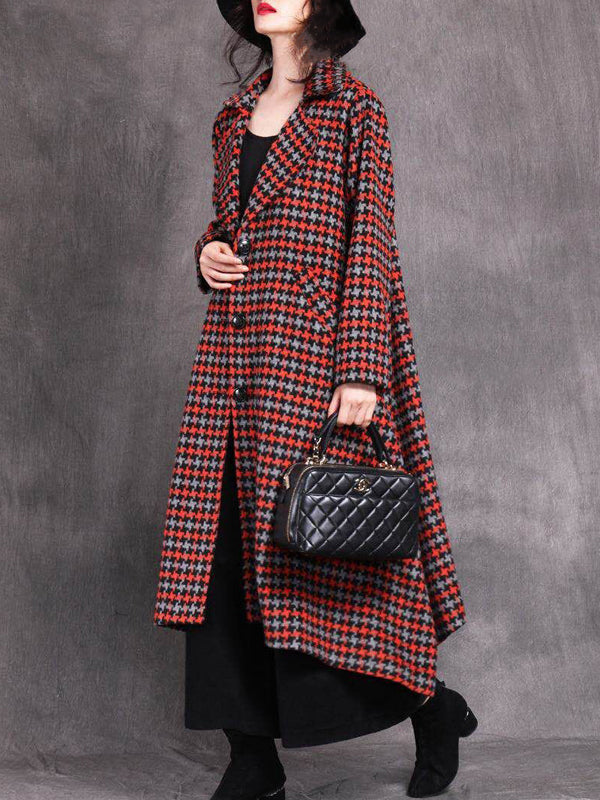 Vintage Woolen Overcoat with Small Ethnic Plaids