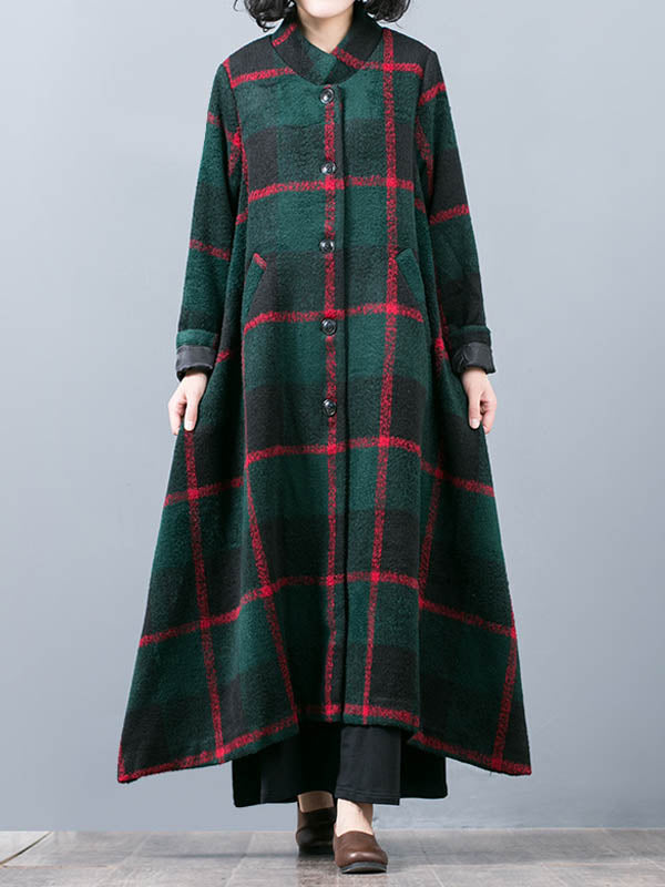 Vintage Woolen Overcoat with Medium Ethnic Plaid