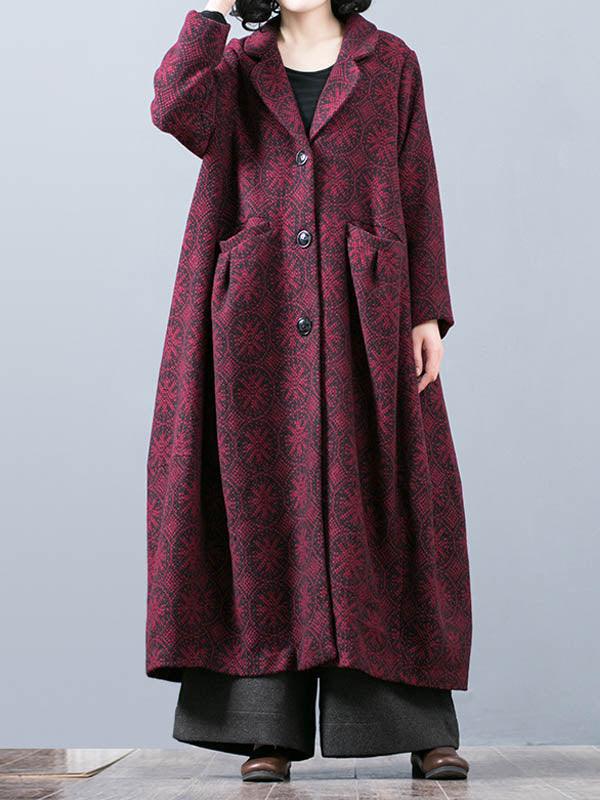 Vintage Plaids Overcoat with Smock Pockets