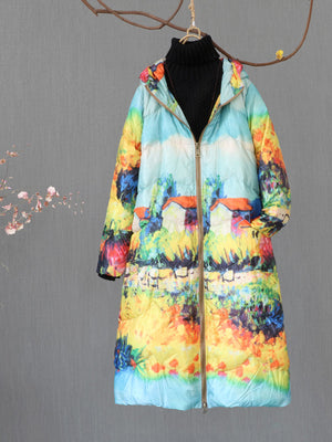 Amber Ethnic Hooded Zip Quilted Down Overcoat with Floral Prints