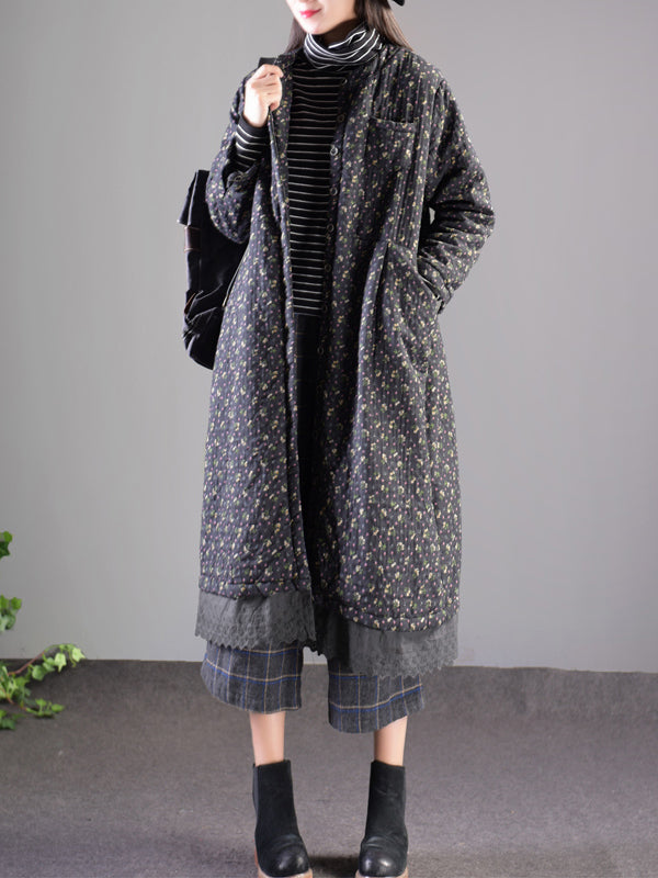 Christina Round Neck Cotton Vintage Quilted Coat with Shivering Prints