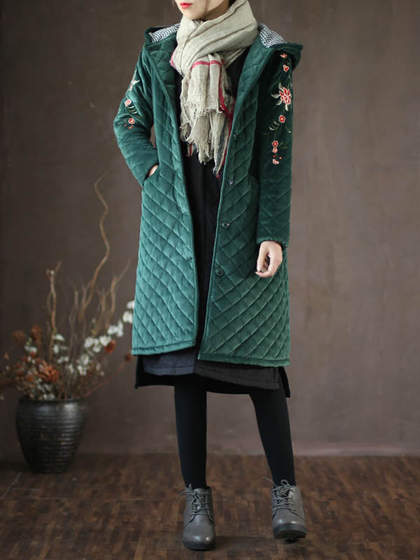 Beverly Lapel Neck Vintage Abrasion Hoodie Quilted Coat with Floral Embroidery
