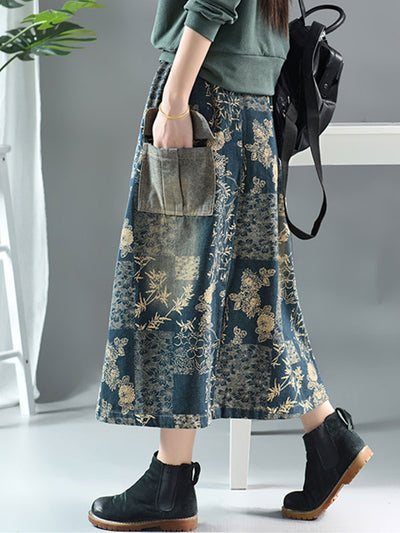 Floral Printing Denim Skirt