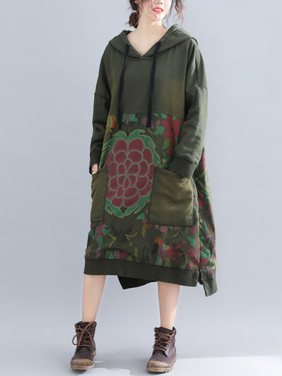Vickie V-Neck Hooded Ethnic Quilted Sweatshirt Dress with Floral Prints